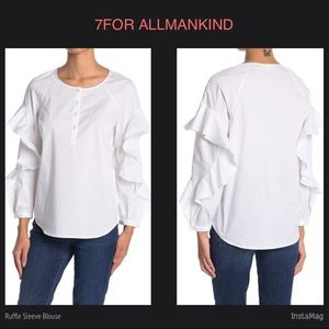 7 FOR ALL MANKIND Ruffle Sleeve White Blouse